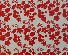 1m PIECE PVC/VINYL OIL CLOTH TABLECLOTH - RED FLOWER / IDEAL SIZE FOR DOG BEDS