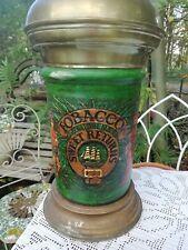 Large Vintage Ceramic Green Tobacco Storage Jar Brass Top Pub Shop Display