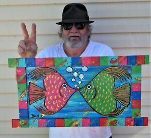 Kissing Fish Sunny Fun adorable Listed artist Dan C Outsider Folk Art Painting