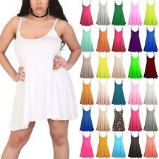 Plus Size Womens Sleeveless Plain Floaty Ladies Camisole Top Swing Flared Dress