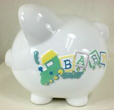 Baby's First Large Piggy Bank - CHOO CHOO TRAIN  Personalized with MOLLY