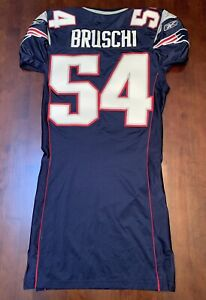 TEDY BRUSCHI New England Patriots Authentic Team Issued Game Jersey Home Blue
