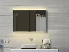 Alu Badezimmer Spiegelschrank Bad LED Licht Warm Kaltweiß mit Steckdose 100x70cm