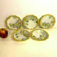 Set of 5 Antique Limoges Porcelain Dessert Plates Hand Painted Flowers