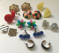 Lot Of 9 Women's Clipon Costume Earrings CLIP On Screw On - Cool Variety