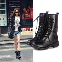 Women's Martin Shoes Leather Boots Punk Military Combat Army Lace-up Flat Short