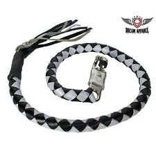 "Black And Silver Hand-Braided Leather Get back Whip - 2"" Thick"