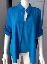 DKNY BLACK LABEL Capri Blue Silk Blouse / Tank Size S  New Retail $195 NWT