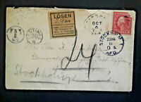 1915 New York USA to Stockholm Sweden Swedish Mixed Franking Postage Due Cover