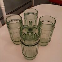 "Set of 6 Vintage Green Glass Ribbed Tumblers Drinking Glasses Handled Mug 5 3/4"""