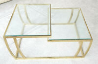 VINTAGE 1970'S LEON ROSEN for PACE GILDED SPLIT TWO LEVEL GLASS TOP COFFEE TABLE