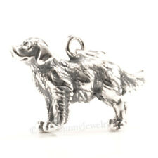 Golden Retriever Dog Charm Pendant solid 925 Sterling Silver 3D Charm