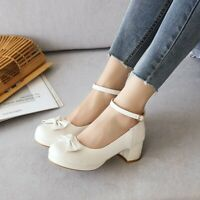 Bowknot Women Round Toe Mid Heels Ankle Strap Casual Sweet Office Mary Jane Shoe