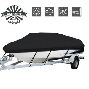 Waterproof Heavy Duty Fabric Boat Cover Trailerable Fishing Ski V-Hull Runabout