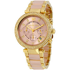 **NEW* LADIES MICHAEL KORS ROSE GOLD CRYSTAL PARKER 2-TONE WATCH MK6326 -RRP£259