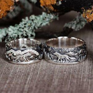Damen Herren Ring Wolf Damenring Band Ring Partnerringe Ringe Verlobungsring Neu
