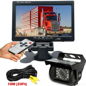 "7"" Truck RVs Bus LCD Monitor Parking Rear View System Night Vision Backup Camera"