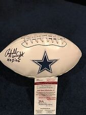 Rayfield Wright Signed Dallas Cowboys Logo Football JSA, HoF 06