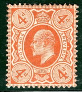 GB KEVII Stamp 4d Orange Mint MM {samwells}ORED16