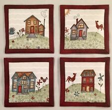 "Mug Rug Coasters Country House 4"" By 4"" Handmade Quilted Set Of 4 100% Cotton."