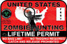 Zombie Hunting Permit Sticker Decal Car Truck Jeep Vinyl Window Bumper Laptop 3M