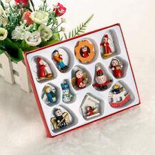 12PCS Set Wooden Christmas Doll Hanging Pendant Miniature Toys Xmas Party Decor