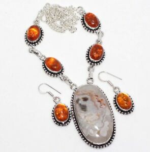 Mexican Laguna Lace Amber 925 Sterling Silver Plated Necklace Earrings Set GW