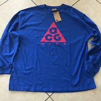 NIKE ACG LOGO LONG SLEEVE TEE BLUE Size  Men's L BQ3457-416  NWT
