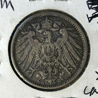 1909-D Germany 1 Mark Silver Coin XF Condition