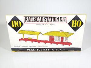 Vintage Plasticville HO Railroad Station Kit HO-100 Unassembled Model with Box
