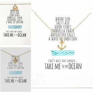 """Gold Colour Women Anchor Shell Small Necklace with Card """"Take me to the Ocean"""""""