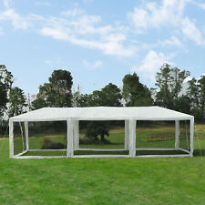 Outsunny 30' x 10' Pop Up Canopy Party Tent with Mesh Side Walls - White/Black