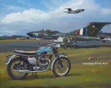 Triumph Bonneville Gloster Javelin Motorcycle Motorbike Plane Painting Art Print