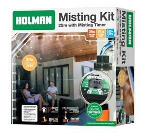 HOLMAN 25M Hose 31 Jets Greenhouse Patio DIY Misting Kit with Digital Tap Timer