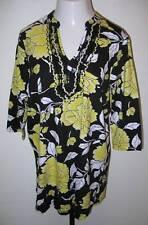 NEW ULLA POPKEN Sunny Blossoms Knit Tunic Top Black Yellow XL 12 14