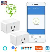 2x Nexete Smart Wifi Mini 16A Plug Outlet Swtich Work With Alexa/Google Home