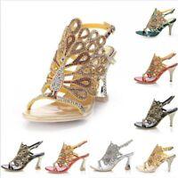 Women Summer Rhinestone High Heel Wedding Bride Party Evening Dress Sandal Shoes