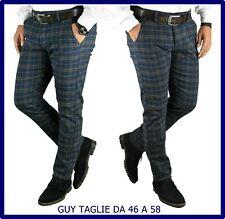 pantaloni uomo slim fit eleganti chino elasticizzati a quadri invernali 48 50 58