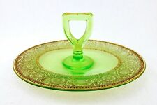 Oval Sandwich Tray with Handle, Green Gilded Depression Glass Tidbit/Serving