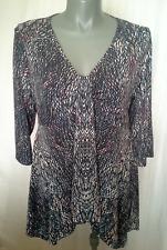 Ladies 3/4 Sleeve Stretch Blouse Shirt Top Asymmetric Hem V Neck Millers Size 20