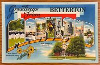 BETTERTON MARYLAND GREETINGS FROM WITH STATE CAPITOL & FLOWERS POSTCARD H83