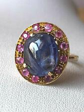 Blue & Pink Sapphire Ring Vintage 14K Yellow Gold Cabochon Cornflower