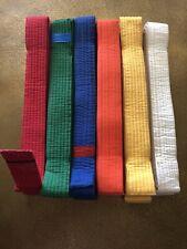 Lot of 6 Adult Martial Arts Karate Belts Assorted Colors