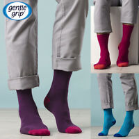 Gentle Grip - 6 Pack Mens Cotton Loose Wide Top Non Elastic / Binding Crew Socks