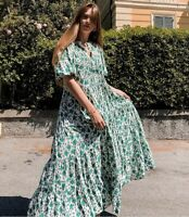 ZARA OYSTER WHITE GREEN FLOWING RUFFLE HEM MAXI VOLUMINOUS FLORAL PRINT DRESS S