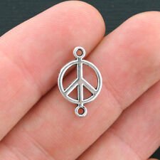 20 Peace Connector Charms Antique Silver Tone 2 Sided - SC4136