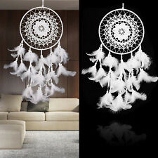 Large Size Handmade Dream Catcher With Feathers Wall Hanging Ornament White