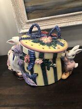 Fitz & Floyd Tailors Hat Bow Box Cookie Jar Rabbit Bunnies Easter 1995 Retired