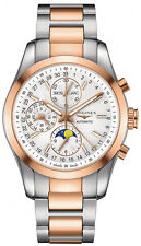 L27985727 Longines Conquest Mens Automatic Watch 2 Tone 18k Rose Gold NEW