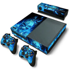 Blue Skull Fire Decal Skin Stickers Wrap Cover for Xbox One Console&Controllers